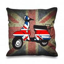 Mod Scooter Union Jack Faux Silk 45cm x 45cm Sofa Cushion