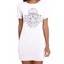 Skull and Roses Tattoo Large Print Women's T-Shirt Dress