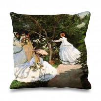 Claude Monet Women in The Garden Faux Silk 45cm x 45cm Sofa Cushion