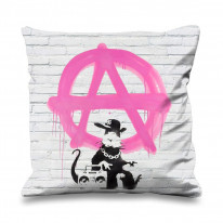 Banksy Anarchy Rat Faux Silk 45cm x 45cm Sofa Cushion