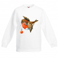 Christmas Robin With Bauble Cute Kids Sweater \ Jumper