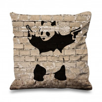 Banksy Panda Faux Silk 45cm x 45cm Sofa Cushion