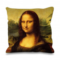 Leonardo da Vinci Mona Lisa Faux Silk 45cm x 45cm Sofa Cushion