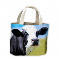 Cow Face Close Up Tote Shopping Bag For Life