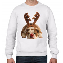 Bulldog Rudolph Reindeer Cute Christmas Men's Sweater \ Jumper