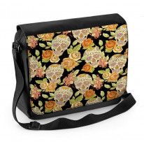 Sugar Skull Skeleton Laptop Messenger Bag