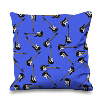 Guitar Pattern Background Faux Silk 45cm x 45cm Sofa Cushion