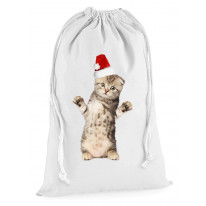 Kitten With Santa Claus Hat Christmas Presents Stocking Drawstring Sack
