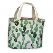 Cactus Grey Pattern All Over Tote Shopping Bag For Life