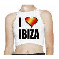 I Love Ibiza Holiday Rave Sleeveless High Neck Crop Top