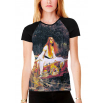 John William Waterhouse The Lady of Shalott Women's All Over Graphic Contrast Baseball T Shirt