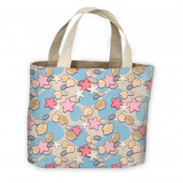 Pastel Sea Shells Pattern All Over Tote Shopping Bag For Life
