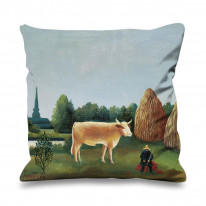 Henri Rousseau Scene In Bagneau Faux Silk 45cm x 45cm Sofa Cushion