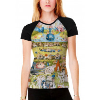 Hieronymus Bosch Garden of Earthly Delights Women's All Over Print Graphic Contrast Baseball T Shirt