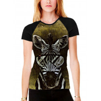 Zebra with Glasses Women's All Over Graphic Contrast Baseball T Shirt