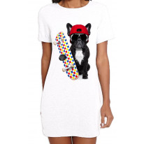 French Bulldog Skateboarder Funny Women's T-Shirt Dress