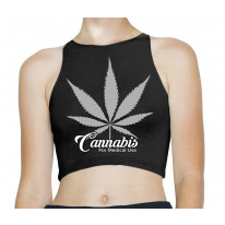 Cannabis For Medical Use Only Leaf Sleeveless High Neck Crop Top