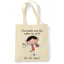Chocolate & Gin Make Me Grin Women's 50th Birthday Present Shoulder Tote Bag