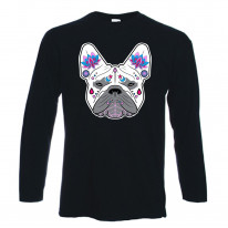 French Bulldog Sugar Skull Long Sleeve T-Shirt