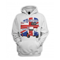 London Bus Union Jack Men's Pouch Pocket Hoodie Hooded Sweatshirt