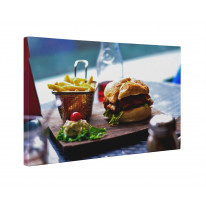 Burger and Chips Box Canvas Print Wall Art - Choice of Sizes