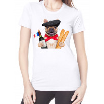 French Bulldog With Wine and Baguette Women's T-Shirt