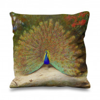 Archibald Thorburn Peacock And Peacock Butterfly Faux Silk 45cm x 45cm Sofa Cushion