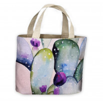 Cactus Watercolour Pattern All Over Tote Shopping Bag For Life