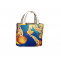 Orange Jellyfish Tote Shopping Bag For Life