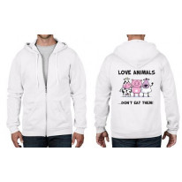 Love Animals Don't Eat Them Full Zip Hoodie