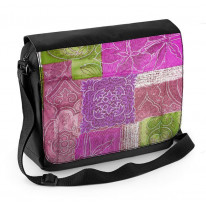 Patchwork Quilt Flowers Laptop Messenger Bag