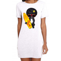French Bulldog Surfer With Afro Hair Women's Short Sleeve T-Shirt Dress