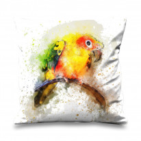 Parrot Bird Drawing Faux Silk 45cm x 45cm Sofa Cushion