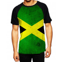 Jamaican Flag Men's All Over Graphic Contrast Baseball T Shirt