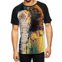 Elephant Painting Men's All Over Graphic Contrast Baseball T Shirt