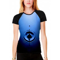 Drop of Water Blue Women's All Over Graphic Contrast Baseball T Shirt