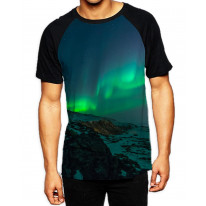 Aurora Borealis Northern Lights Mountains Men's All Over Graphic Contrast Baseball T Shirt