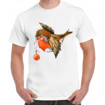Christmas Robin With Bauble Cute Men's T-Shirt