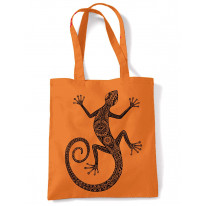 Tribal Lizard Tattoo Large Print Tote Shoulder Shopping Bag