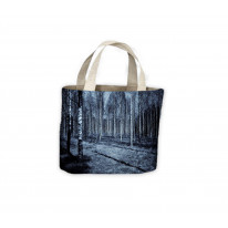 Forest in Black White Horror Tote Shopping Bag For Life