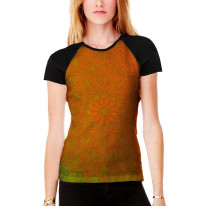 Mandala Pattern Orange Background Women's All Over Graphic Contrast Baseball T Shirt