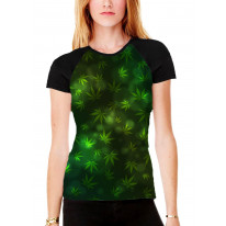 Weed Leaf Pattern Background Women's All Over Graphic Contrast Baseball T Shirt