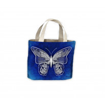 Tribal Butterfly Blue Tote Shopping Bag For Life