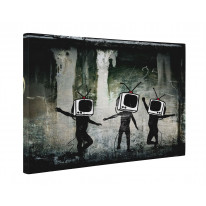 Banksy Telly Heads Box Canvas Print Wall Art - Choice of Sizes