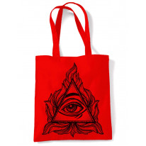 All Seeing Eye In A Triangle Illuminati Large Print Tote Shoulder Shopping Bag