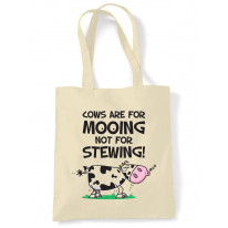 Vegetarian Cows Are For Mooing Tote Shoulder Shopping Bag