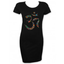 Floral Om Symbol Short Sleeve T Shirt Dress
