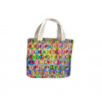 Peace Symbol Colourful Pattern Tote Shopping Bag For Life