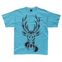 Tribal Stags Head Large Print Kids Children's T-Shirt