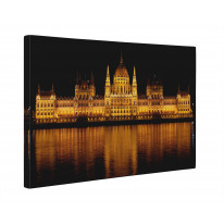 Budapest Parliament at Night Box Canvas Print Wall Art - Choice of Sizes